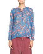 Etoile Isabel Marant Maria Floral Long-Sleeve Button-Front Top