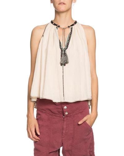 Ryson Embroidered Tie-Front Sleeveless Top