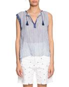 Etoile Isabel Marant Juditha Striped Embroidered Sleeveless Top