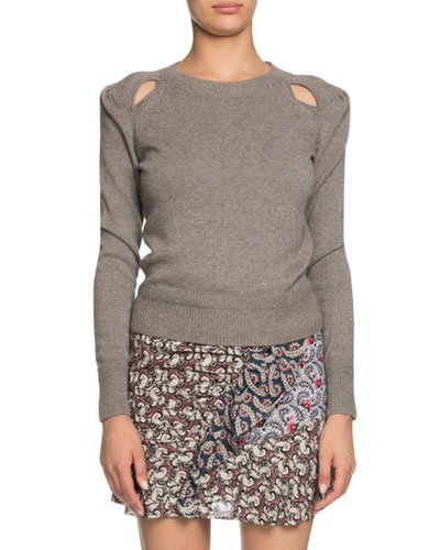 Klee Cotton-Wool Pullover Sweater w/ Cutouts