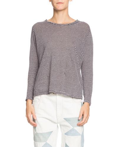 Kaaron Striped Jersey Long-Sleeve Tee