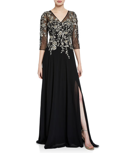 V-Neck 3/4-Sleeve Beaded Floral-Embroidered Gown w/ Thigh-Slit