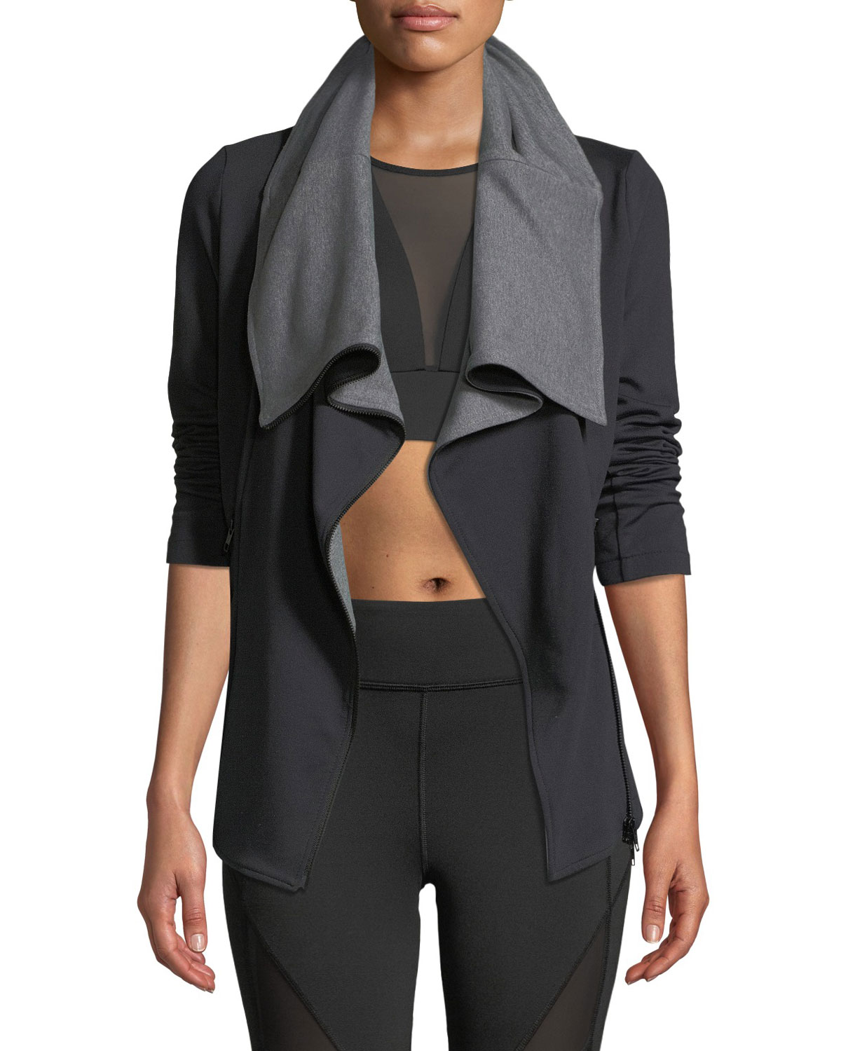 MICHI Lotus Zip-Front Active Jacket in Black/Gray