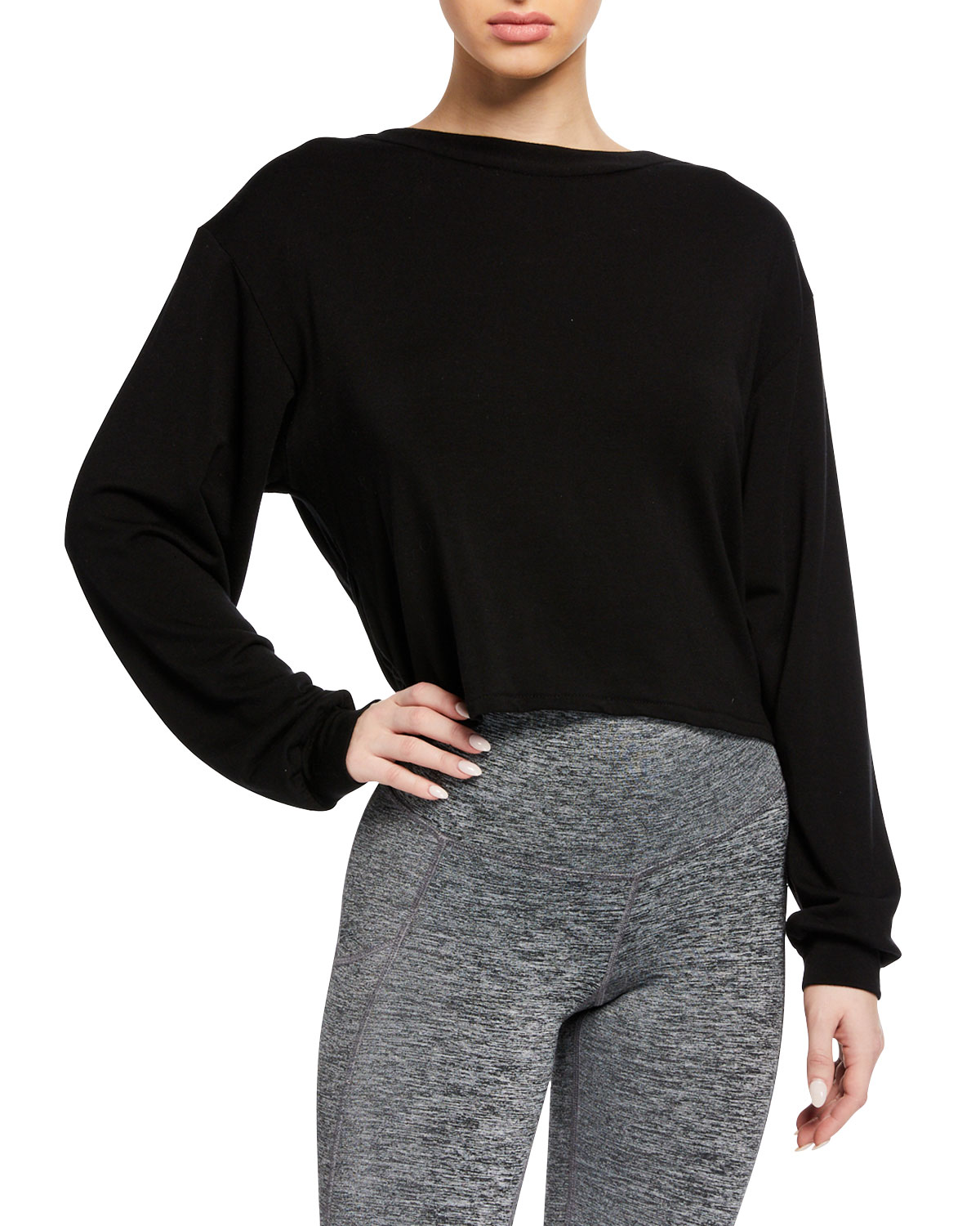 MICHI Breeze Cropped Open-Back Sweatshirt in Black