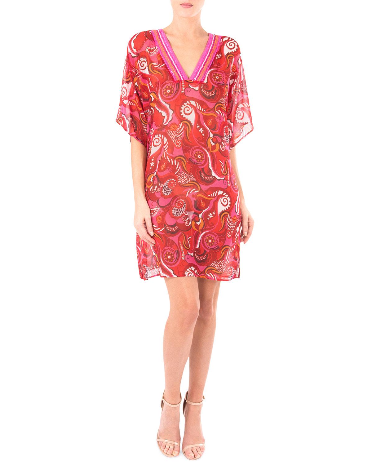 LISE CHARMEL Coraux Merveille Printed V-Neck Tunic in Coraux Solaire