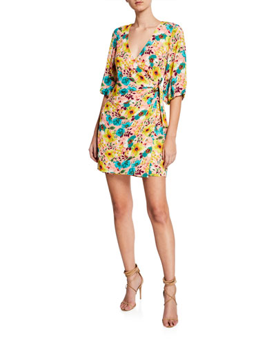 Floral-Print 3/4-Sleeve Wrap Cocktail Dress