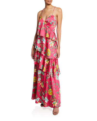 925e824da Quick Look. Aidan by Aidan Mattox · Tiered Floral-Print Ruffle Open-Back Maxi  Dress