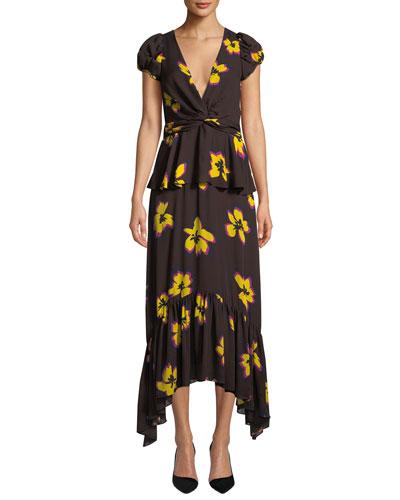 Zadie Floral Silk Peplum Handkerchief Dress