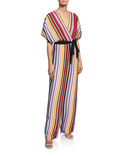Striped Dolman-Sleeve Belted Jumpsuit