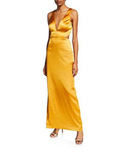Sleeveless Column Gown with Side Slit