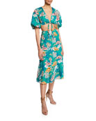 Aidan by Aidan Mattox Floral-Print Two-Piece Tie-Front Crop