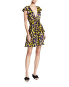 A.L.C. Viera Plunging Floral Fit-&-Flare Dress