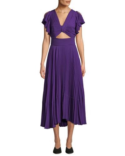 Sorrento Cutout Plisse Cocktail Dress
