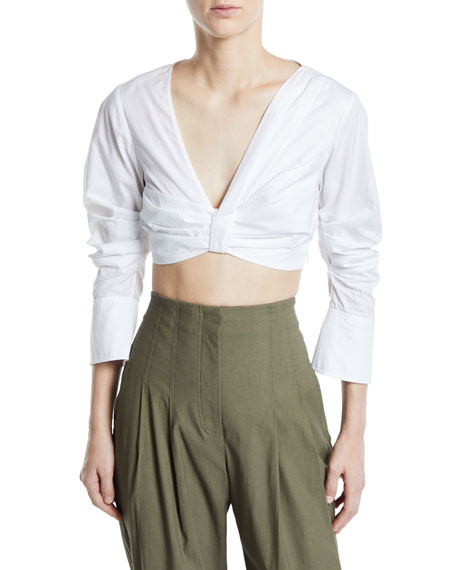 A.L.C. Elise Gathered V-Neck 3/4-Sleeve Crop Top