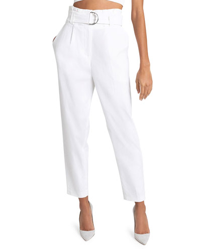 Diego High-Waist Belted Linen-Stretch Pants