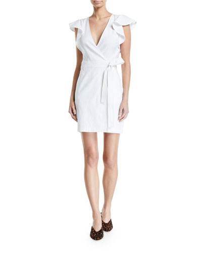Sidelle Surplice Flutter-Sleeve Wrap Dress