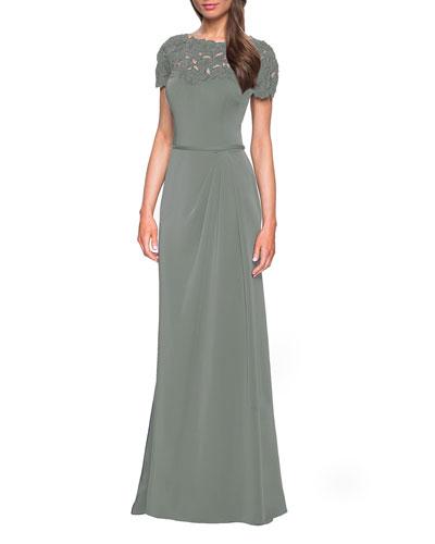 Bateau-Neck Short-Sleeve Jersey Column Gown w/ Laser-Cut Flowers