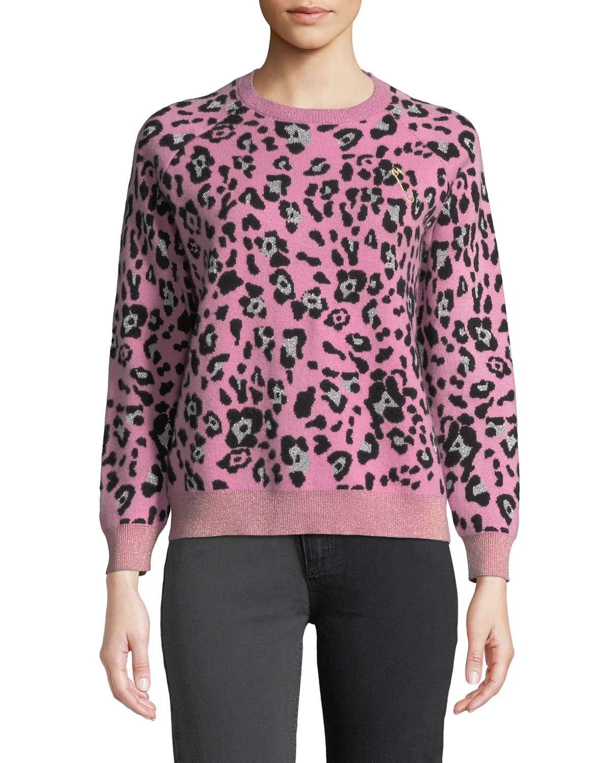 REPLICA LOS ANGELES Metallic Leopard-Print Wool Crewneck Sweater in Peony