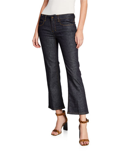 High-Rise Capri Boot-Cut Jeans