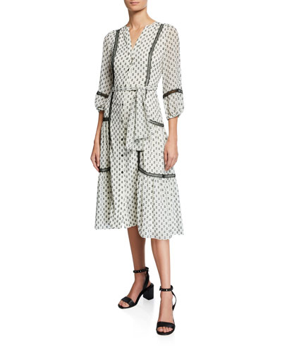 Sandrelli Geometric Clip Dot V-Neck 3/4-Sleeve Dress