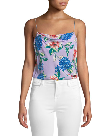 Parker Summer Floral-Print Spaghetti-Strap Top