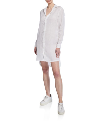 Button-Down Long-Sleeve Woven Cotton Shirtdress