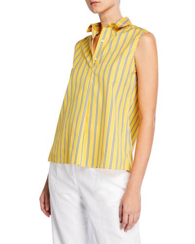Sleeveless Striped Cotton Poplin Shirt