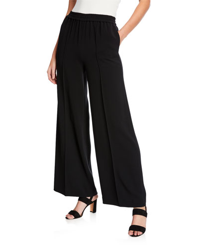 Pleated Wide-Leg Trousers with Side Pockets