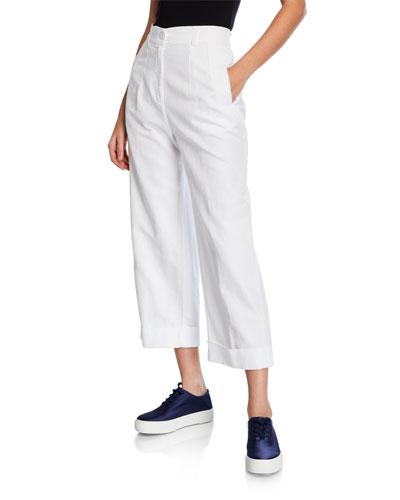 Cuffed Wide-Leg Twill Pants w/ Pockets