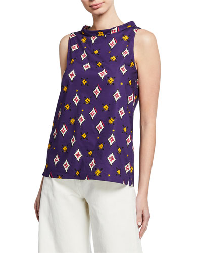 High-Neck Sleeveless Multi-Patterned Cotton Top