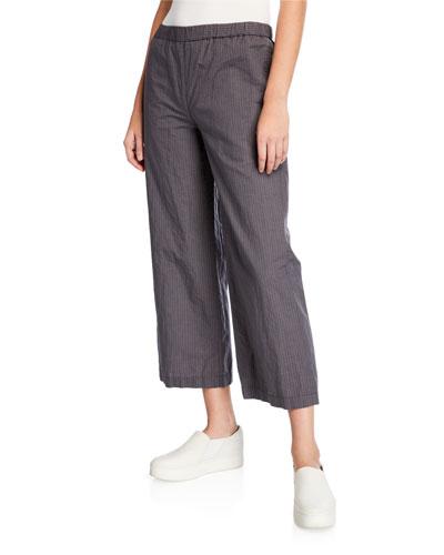 Pinstripe Cropped Wide-Leg Cotton-Blend Pants