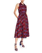 Aspesi Halter-Neck Button-Front Geometric-Print Dress w/ Pockets