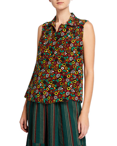 Sleeveless Bow-Neck Button-Front Patterned Silk Blouse