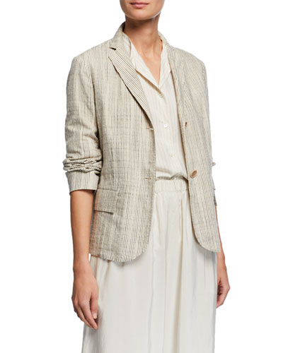 Pinstripe Boxy Organic Cotton Jacket
