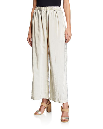 Wide-Leg Pants with Pinstripes