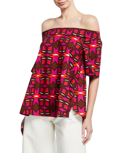 Off-the-Shoulder Short-Sleeve Geometric-Print Cotton Poplin Top