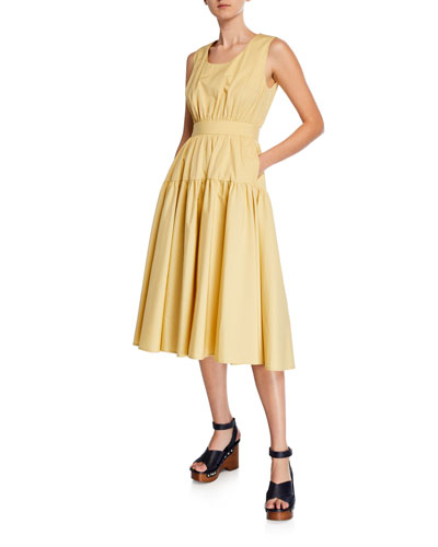 Scoop-Neck Sleeveless Tiered Cotton-Poplin Dress