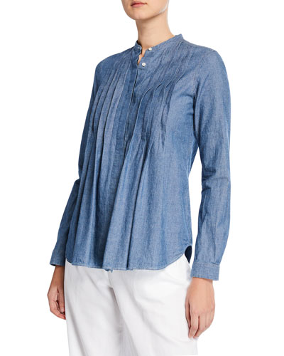 8ecfe22e35 Quick Look. Aspesi · Crewneck Long-Sleeve Pintuck Chambray Shirt