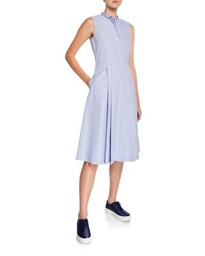 45f9b1418b Quick Look. Aspesi · Collared Sleeveless Striped Poplin Dress