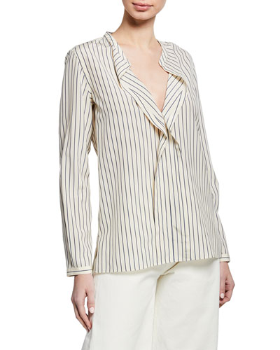 Striped V-Neck Long-Sleeve Silk Blouse w/ Flounce Detail