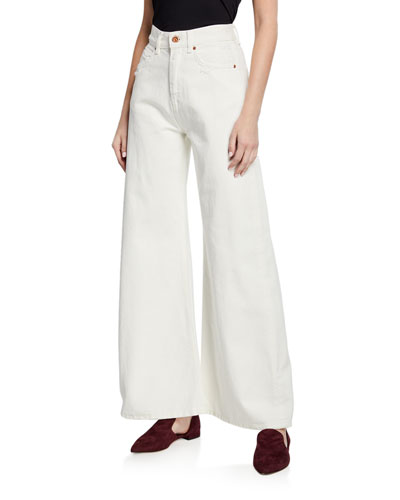 Flared High-Waist Wide-Leg Cotton Jeans