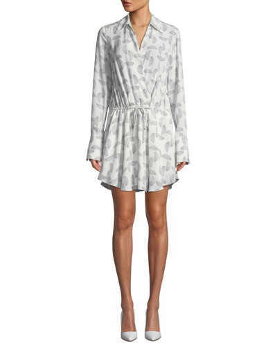 Isobel Long-Sleeve Drawstring-Waist Mini Dress