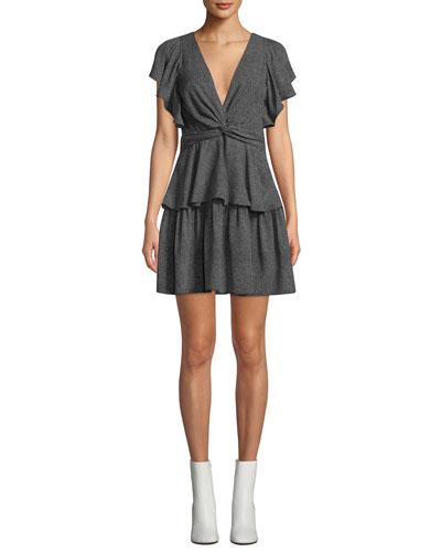 Viera Rimini Dot-Print V-Neck Flutter-Sleeve Dress