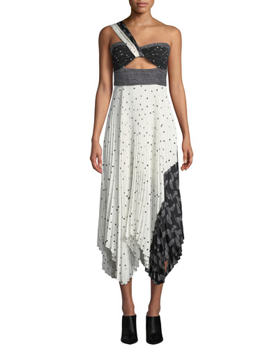 Aurora Printed One-Shoulder Plisse Midi Dress