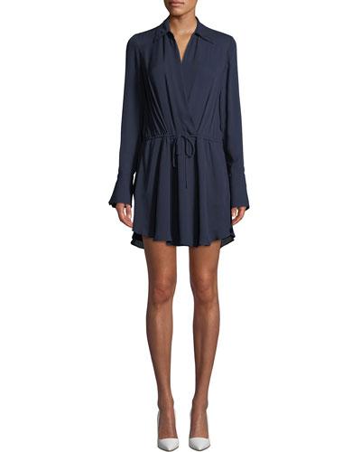 Isobel V-Neck Long-Sleeve Silk Dress