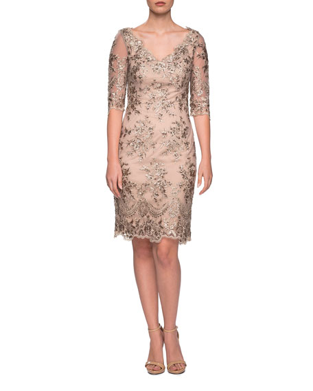 La Femme V-Neck Sheer Half-Sleeve Embroidered Sheath Dress