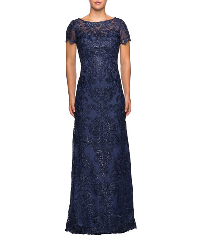 Boat-Neck Short-Sleeve Embroidered Lace & Sequin A-Line Gown