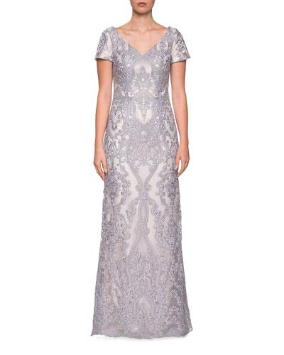 V-Neck Short-Sleeve Embroidered Column Gown