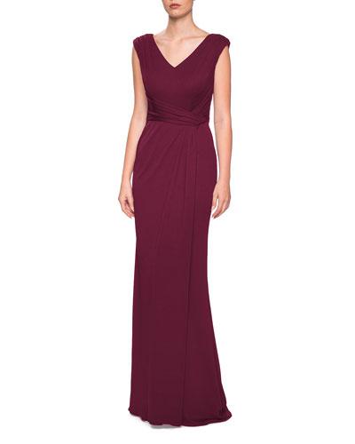 V-Neck Cap-Sleeve Jersey Column Gown