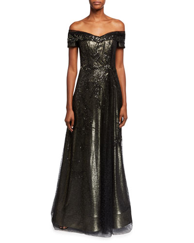 Off-the-Shoulder Bead Embellished A-Line Gown